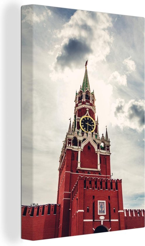 De Spasskayatoren uit de Russische revolutie canvas 20x30 cm - klein - Foto print op Canvas schilderij (Wanddecoratie woonkamer / slaapkamer)