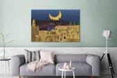 Illustratie van Jeruzalem in de nacht canvas 160x120 cm - Foto print op Canvas schilderij (Wanddecoratie woonkamer / slaapkamer) XXL / Groot formaat!