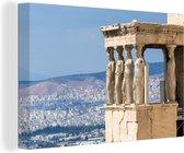 De tempel van Athena op de Akropolis van Athene canvas 90x60 cm - Foto print op Canvas schilderij (Wanddecoratie woonkamer / slaapkamer)