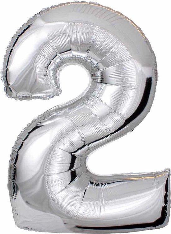 DW4Trading® Cijfer ballon 2 zilver 40cm