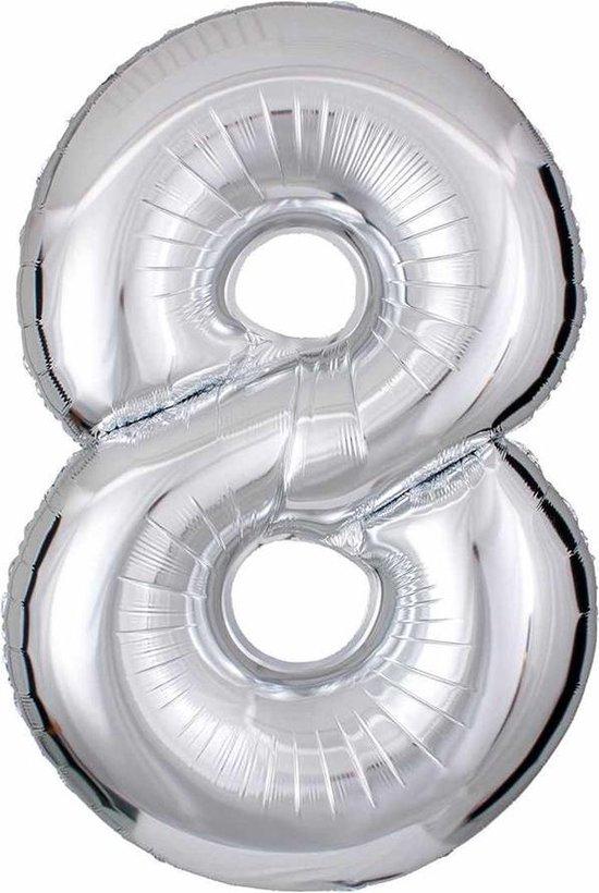 DW4Trading® Cijfer ballon 8 zilver 40cm