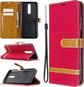 Voor xiaomi redmi k30 kleuraanpassing denim textuur horizontale flip lederen case met houder & kaartsleuven & portemonnee & lanyard (rood)