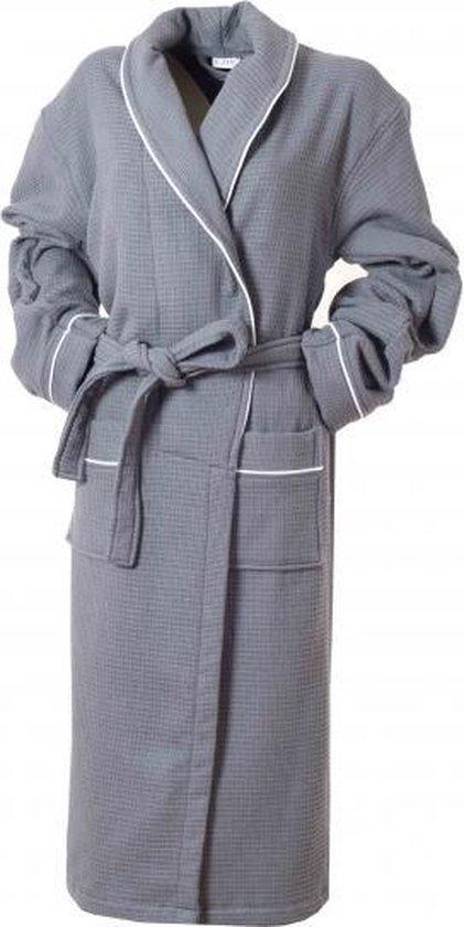 Bamboe Wafel Badjas Antraciet - Gevoerd - Unisex Maat L/XL - Mouwlengte Ca. 60cm - Dames / Heren / Unisex - Wafel Badjas Voor Sauna Wellness - Hotelkwaliteit