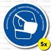 Waarschuwing sticker - Mondkapje verplicht (5x) 18x18cm
