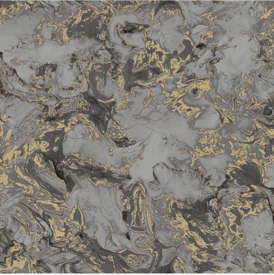 Reflets marmer grijs/zwart/goud natuursteen (vliesbehang, goud)