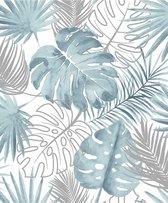 Escapade palmbladeren blauw/zilver natuur (vliesbehang, zilver)
