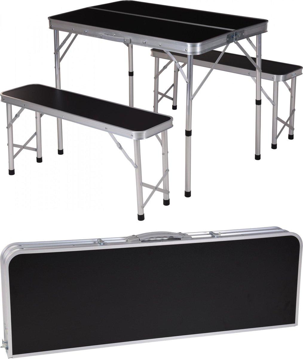 Inklapbare campingtafel met 2 banken - 90 x 60 x 70cm kopen