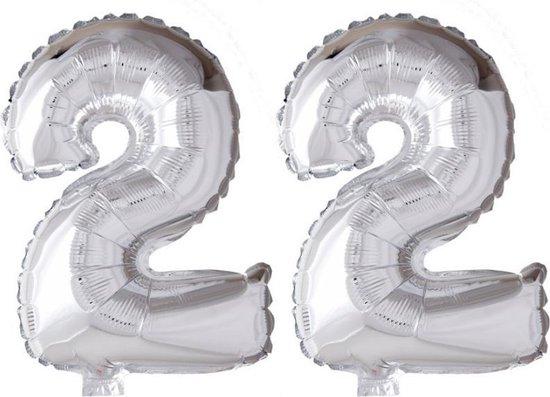 Folieballon 22 jaar zilver 86cm
