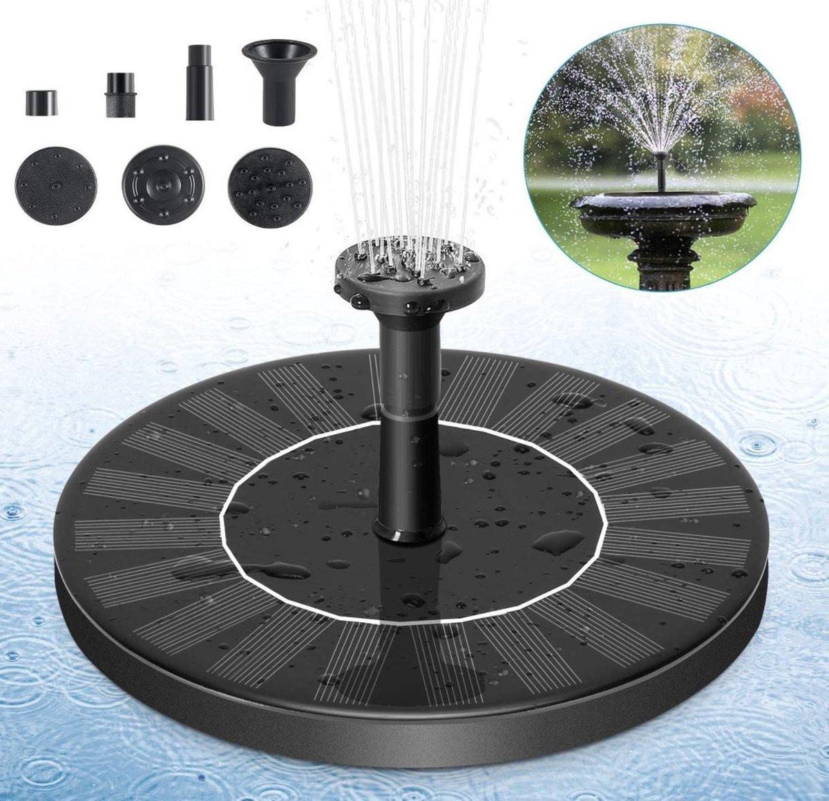 Multifunctionele fontein op zonne-energie  16cm - inclusief handleiding & 6 fonteinkoppen - milieuvr