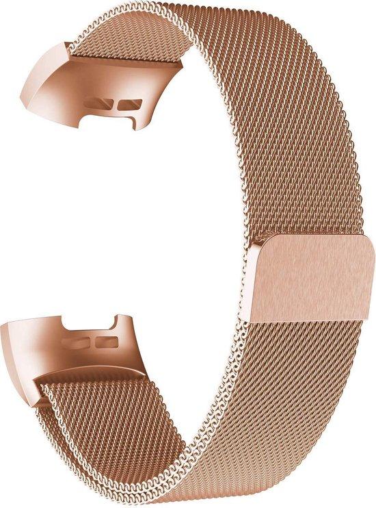Gymston® Milanees bandje - Fitbit Charge 3 - Fitbit Charge 4 - Rose Goud - Medium