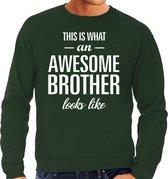 Awesome brother - geweldige broer cadeau sweater groen heren - Verjaardag kado trui 2XL