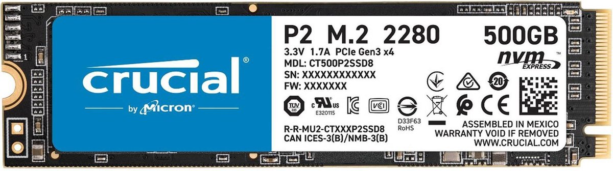 Crucial P2 500GB 3D M.2 SSD kopen
