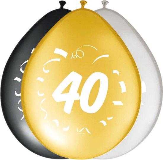 Ballonnen 40 jaar Happy birthday 30cm 8 stuks