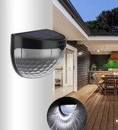 Lumore® Buitenlamp - Buiten wandlampen - Wit Licht - 2 Stuks - Solar tuinverlichting - IP65 Waterbestendig - Zwart