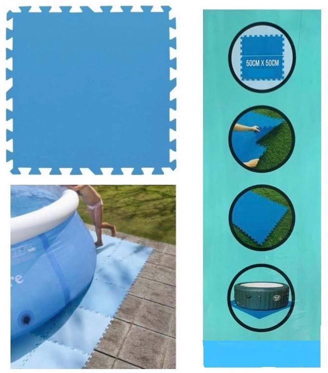 Zwembad tegels - Set van 8 stuks - Bodem bescherming - Ondertegels - Ondervloer - Ondergrond - Foam