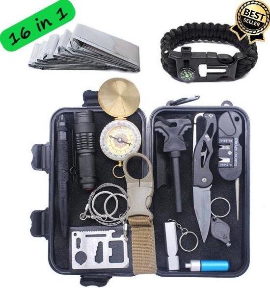 16 in 1 Multitool Ultimate Survival Kit | Outdoor Camping Backpacking Emergency Survival Kit XXL Waterproof| SOS EDC Multifunctionele Box - Bamled