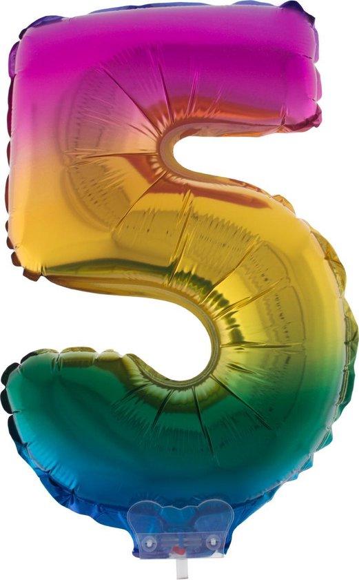 Cijferballon folie nummer 5 | Opblaascijfer 5 regenboog 41cm