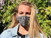 Herbruikbare Mondkapjes met elastiek| Zebra | Made in Italy | Wasbaar gezichtsmasker | Face Mask |Mondmasker | 100% Katoen | Niet-Medische| Dubbel-laags | Volwassenen | Zacht elastiek