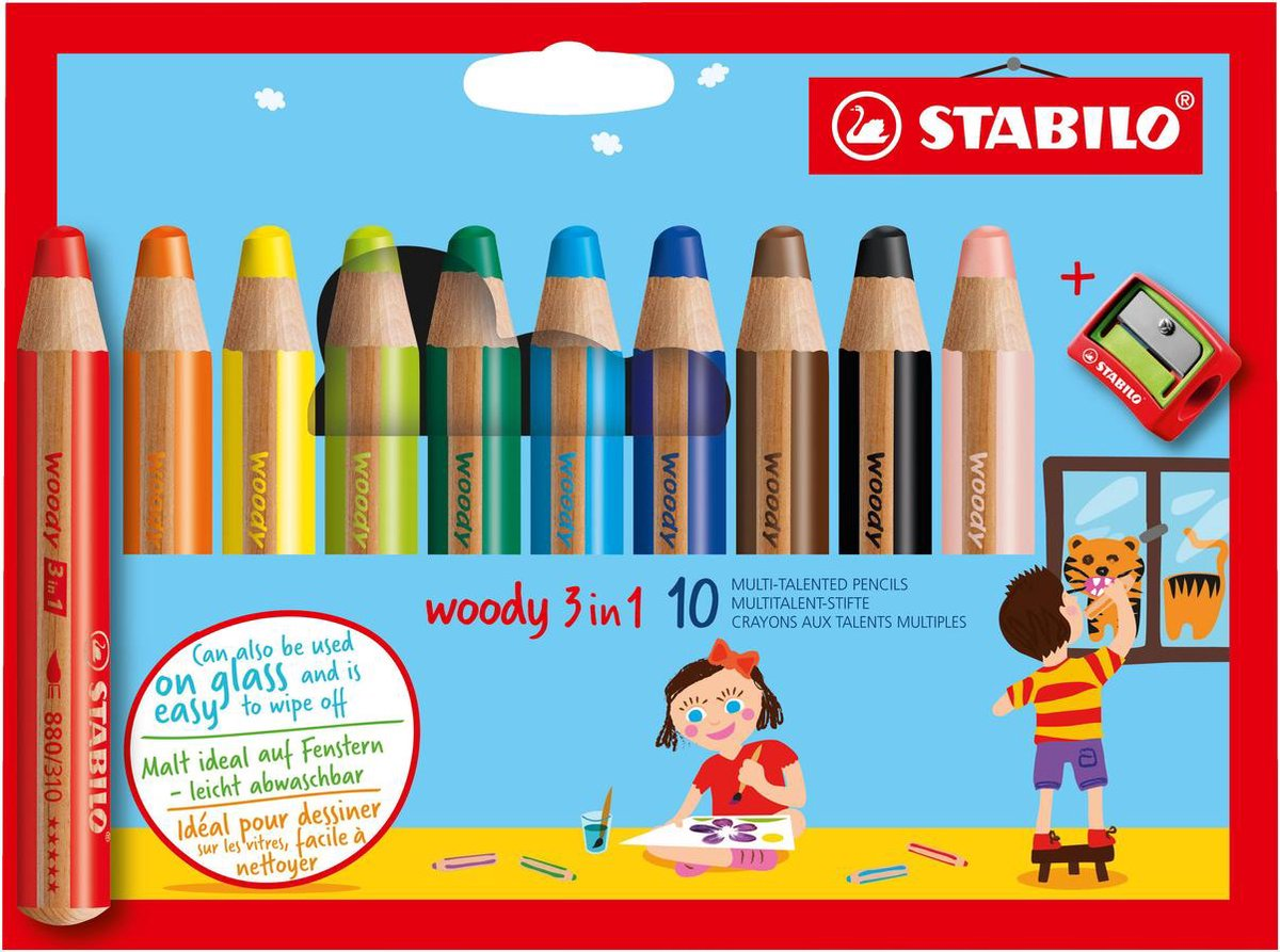 STABILO Woody 3 in 1 - Multi Talent Kleurpotlood - Etui Met 10 Kleuren + puntenslijper