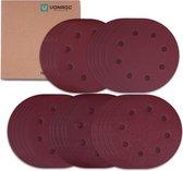 VONROC Schuurpapier set – 180MM – 25 stuks – Voor schuurmachines – Incl. klittenbandbevestiging