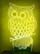 Lamp Uil. 3D illusie Nachtlamp UIL voor kind of volwassen. Mooie sfeerlamp - 7 kleuren