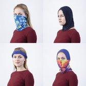 Bandana |Set van 3/ Multifunctioneel | Hoofdband | Nekwarmer | Gezichtsbedekking | Haarbedekking | Haarband | Bedekking voor neus en mond | Blue Birds