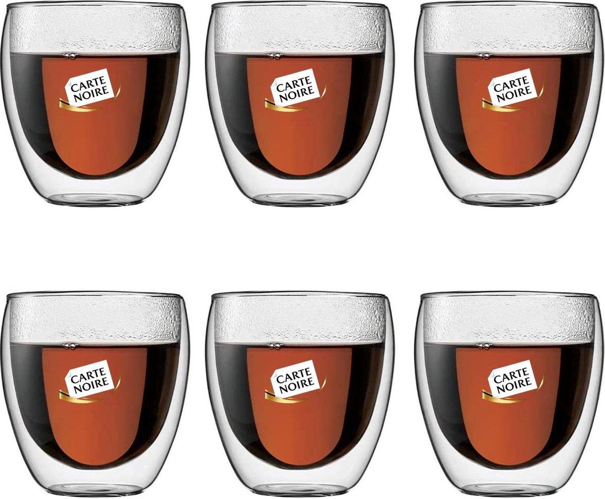 Bodum Theeglazen - Dubbelwandige Koffieglazen - 250 ml - 6 stuks - Carte Noire