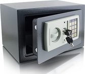 Elektronische kluis - Dubbel sluitsysteem - 31 x 20 x 22cm - Grijs