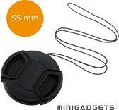 Universele 55mm Lens Cap, Lensdop voor Nikon, Sony, Canon camera's | met koord | Minigadgets