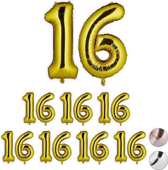 relaxdays 8x folie ballon 16 - cijfer ballon - groot - xxl ballon - verjaardag - goud