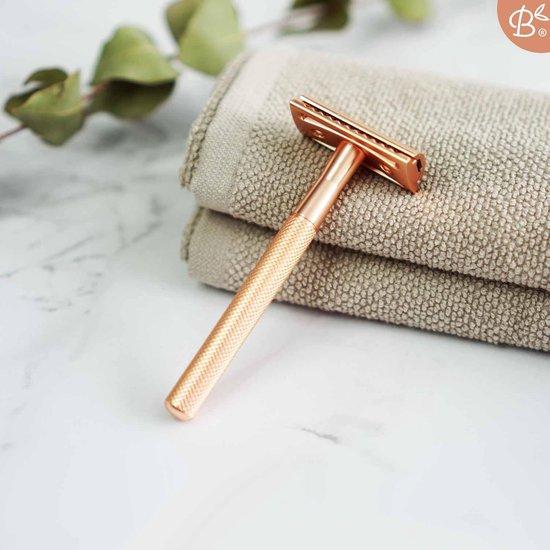Bamboozy Safety Razor + 20 scheermesjes Rose Gold Goud voor vrouwen dames Double Edge Single Blade Zero Waste Duurzaam Scheermesje
