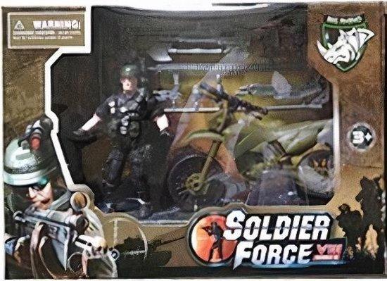 Afbeelding van Lg-imports Motor Soldier Force Jongens Legergroen 2-delig speelgoed