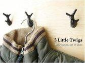 Puhlmann 3 Kleine Takjes Wandhaakjes - 3 Stuks - Zwart