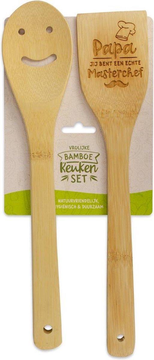 Bamboe keukenset met tekst Papa jij bent een echte masterchef