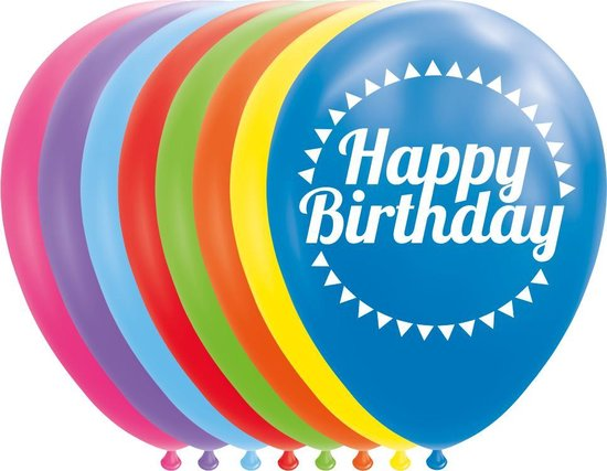 Globos Ballonnen Happy Birthday 12 Cm Latex 8 Stuks
