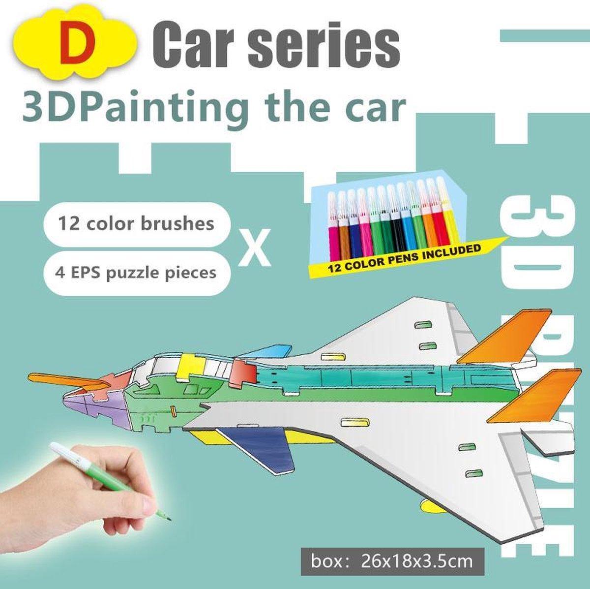 3D Puzzel ' Voertuig A&D 2 in 1 Set' Speelgoed voor kinderen - Jongens En Meisjes - Voertuigen - Villa - Kasteel - Tekenen - Kleuren - Knutselen - Vanaf 3 Jaar Oud - Leerzaam