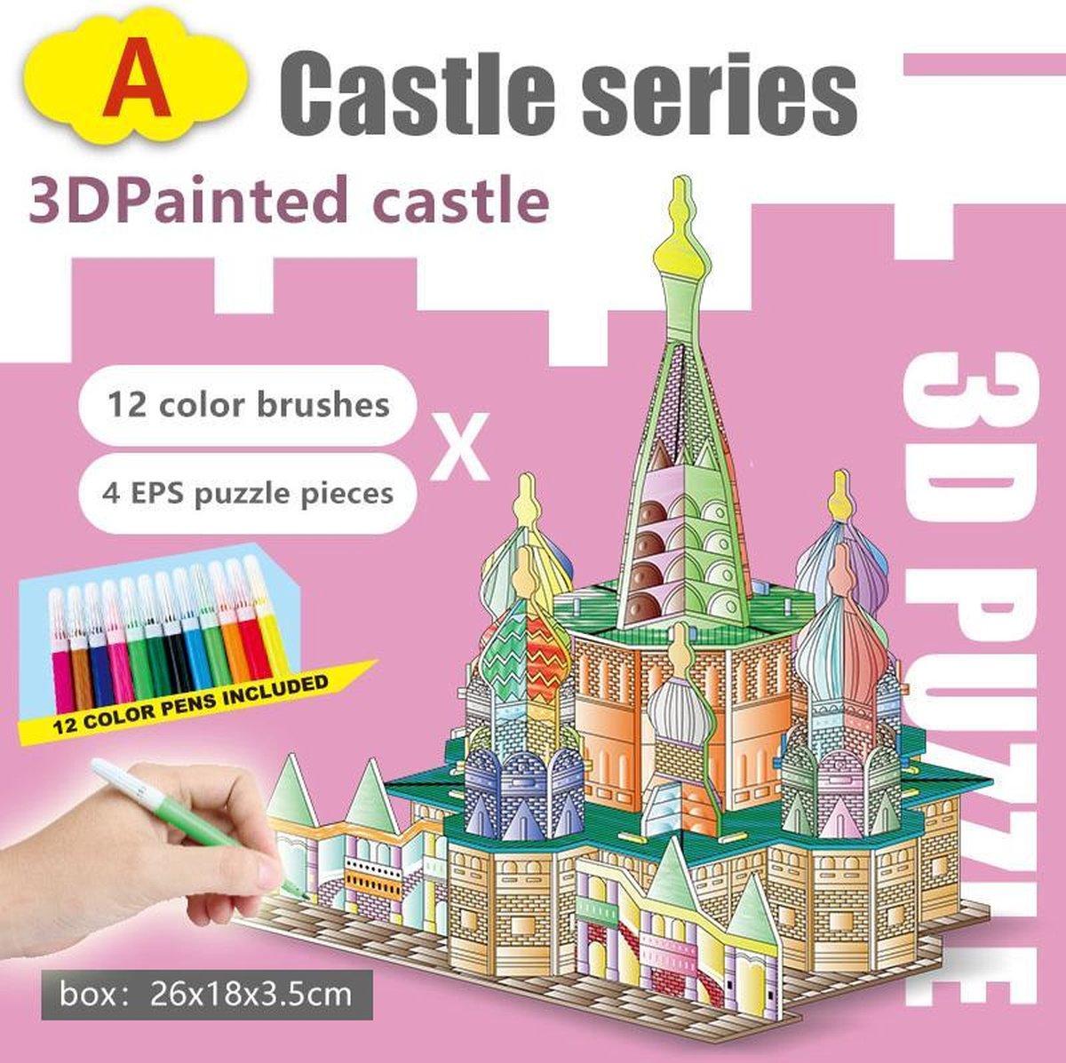 3D Puzzel ' Kasteel A&D 2 in 1 Set' Speelgoed voor kinderen - Jongens En Meisjes - Voertuigen - Villa - Kasteel - Tekenen - Kleuren - Knutselen - Vanaf 3 Jaar Oud - Leerzaam