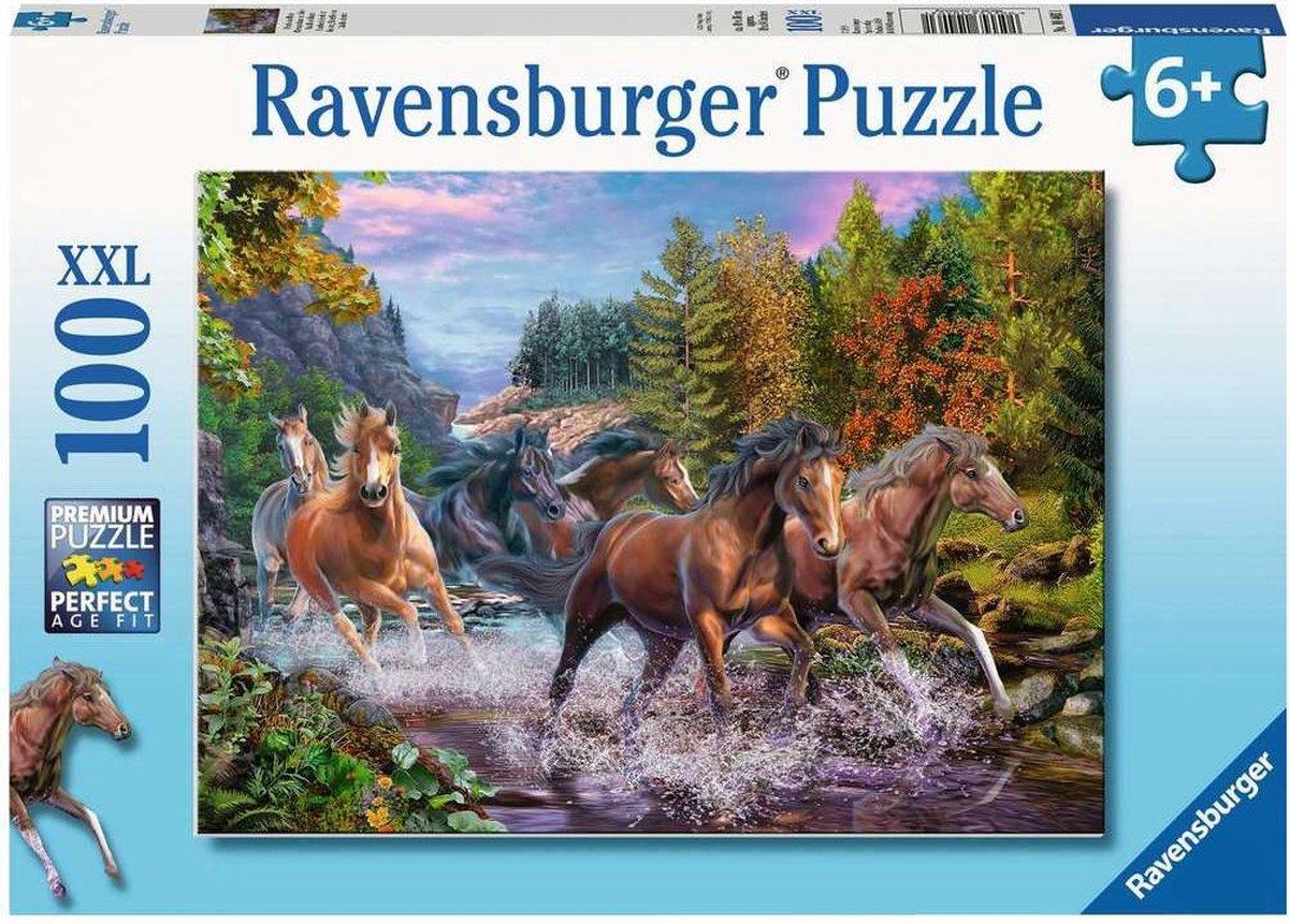 Ravensburger   puzzel - Wilde paarden in de rivier - 100 stukjes