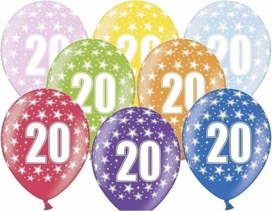 12x stuks verjaardag ballonnen 20 jaar thema met sterretjes - Feestartikelen en versiering