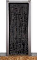 2x stuks zwarte party folie slierten deurgordijnen 240 x 49 cm - Feestartikelen en versiering