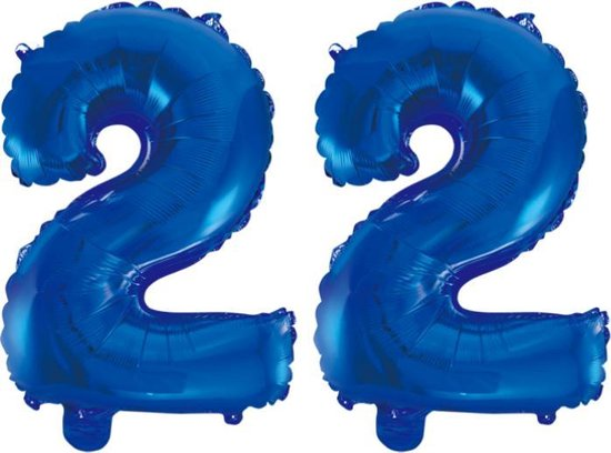 Folieballon 22 jaar blauw 41cm