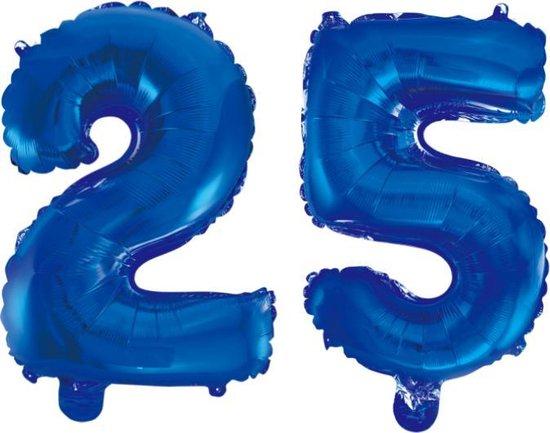 Folieballon 25 jaar blauw 86cm