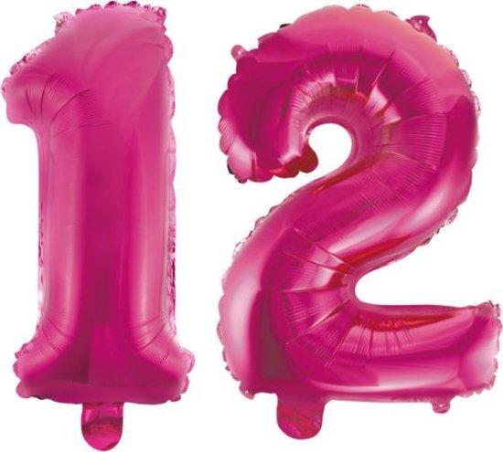 Folieballon 12 jaar roze 41cm