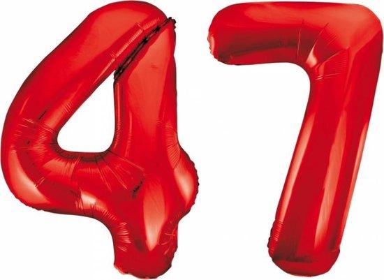 Folieballon 47 jaar rood 86cm
