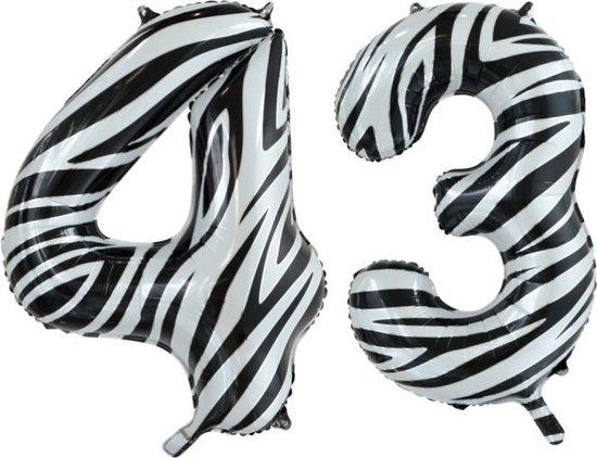 Folieballon 43 jaar zebra 86cm