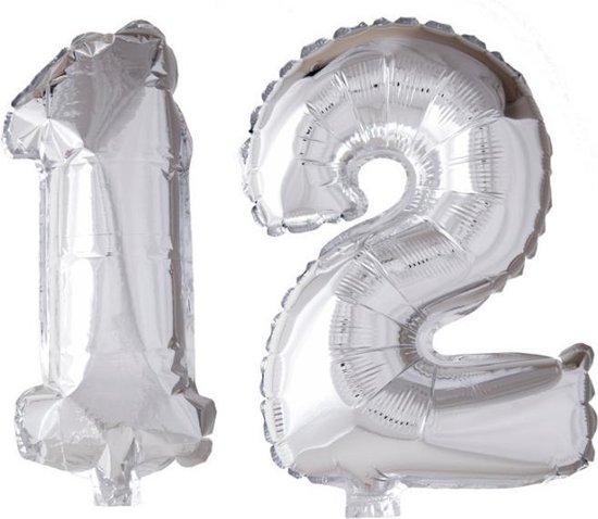 Folieballon 12 jaar zilver 41cm