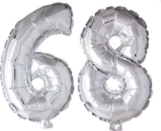 Folieballon 68 jaar zilver 41cm