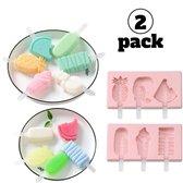 Ijsvorm - Loly pop - Waterijsjes - Smoothie ijs - Yoghurt ijsjes - Vaatwasser bestendig - Liggend invriezen