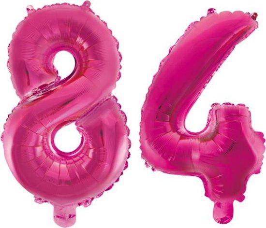 Folieballon 84 jaar roze 86cm