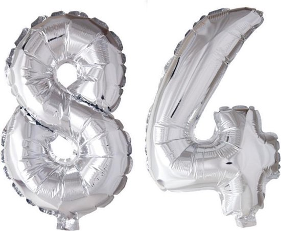 Folieballon 84 jaar zilver 41cm